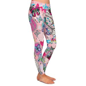 Casual Comfortable Leggings | Julie Ansbro - Butterflies Pink