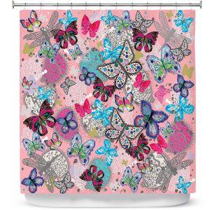 Premium Shower Curtains | Julie Ansbro - Butterflies Pink