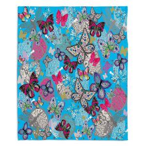 Decorative Fleece Throw Blankets | Julie Ansbro - Butterflies Sky Blue