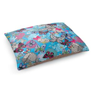 Decorative Dog Pet Beds | Julie Ansbro - Butterflies Sky Blue