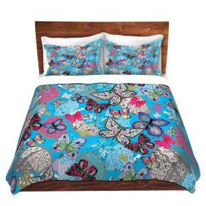 Artistic Duvet Covers and Shams Bedding | Julie Ansbro - Butterflies Sky Blue