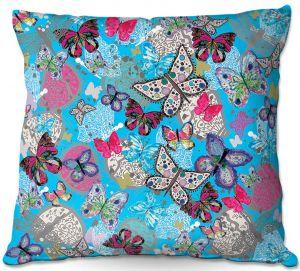 Throw Pillows Decorative Artistic | Julie Ansbro - Butterflies Sky Blue