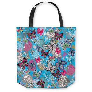 Unique Shoulder Bag Tote Bags  Julie Ansbro - Butterflies Sky Blue