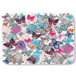 Decorative Bathroom Mats | Julie Ansbro - Butterflies White Pink