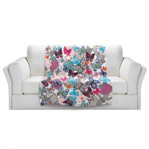 Artistic Sherpa Pile Blankets | Julie Ansbro - Butterflies White Pink