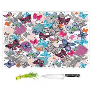 Artistic Kitchen Bar Cutting Boards | Julie Ansbro - Butterflies White Pink