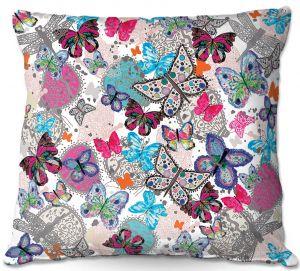 Throw Pillows Decorative Artistic | Julie Ansbro - Butterflies White Pink