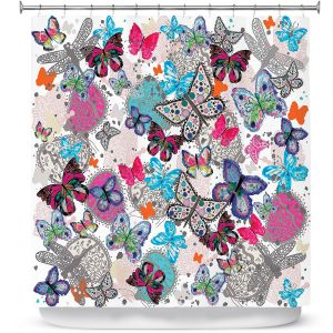 Unique Shower Curtain from DiaNoche Designs by Julie Ansbro - Butterflies White Pink