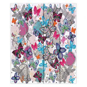 Decorative Wood Plank Wall Art |Julie Ansbro - Butterflies White Pink
