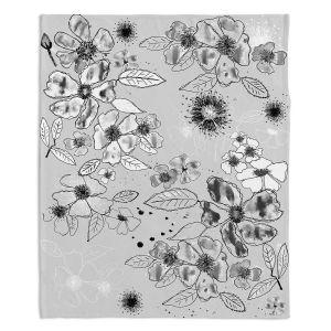 Decorative Fleece Throw Blankets | Julie Ansbro - Drawn Blossom Gray