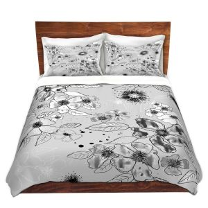Artistic Duvet Covers and Shams Bedding | Julie Ansbro - Drawn Blossom Gray