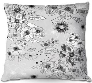 Throw Pillows Decorative Artistic | Julie Ansbro - Drawn Blossom Gray