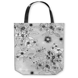 Unique Shoulder Bag Tote Bags |Julie Ansbro - Drawn Blossom Gray