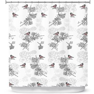 Premium Shower Curtains | Julie Ansbro - Hawthorn Blush Birds