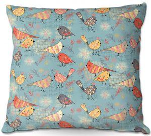 Decorative Outdoor Patio Pillow Cushion | Julie Ansbro - Outline Birdies