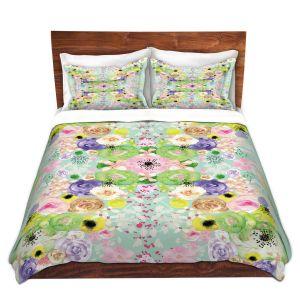 Artistic Duvet Covers and Shams Bedding | Julie Ansbro - Romantic Blooms Aqua
