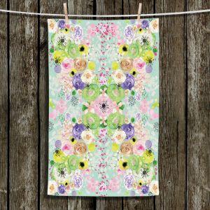 Unique Hanging Tea Towels | Julie Ansbro - Romantic Blooms Aqua | Flower Patterns