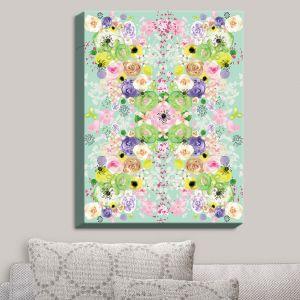 Decorative Canvas Wall Art | Julie Ansbro - Romantic Blooms Aqua | Flower Patterns