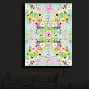 Nightlight Sconce Canvas Light | Julie Ansbro - Romantic Blooms Aqua | Flower Patterns