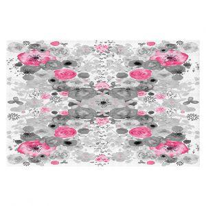 Decorative Floor Coverings | Julie Ansbro - Romantic Blooms Black White Pink