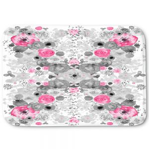 Decorative Bathroom Mats | Julie Ansbro - Romantic Blooms Black White Pink