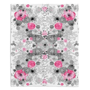 Decorative Fleece Throw Blankets | Julie Ansbro - Romantic Blooms Black White Pink