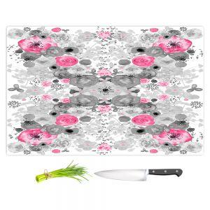 Artistic Kitchen Bar Cutting Boards | Julie Ansbro - Romantic Blooms Black White Pink