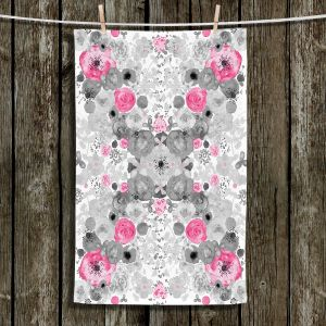 Unique Bathroom Towels | Julie Ansbro - Romantic Blooms Black White Pink