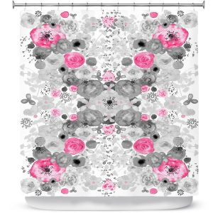 Unique Shower Curtain 69w x 72h inches from DiaNoche Designs by Julie Ansbro - Romantic Blooms Black White Pink