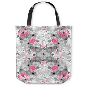 Unique Shoulder Bag Tote Bags |Julie Ansbro - Romantic Blooms Black White Pink