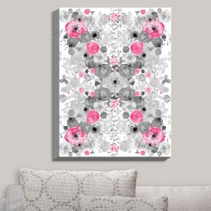 Decorative Canvas Wall Art | Julie Ansbro - Romantic Blooms Black White Pink | Flower Patterns