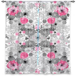 Decorative Window Treatments | Julie Ansbro - Romantic Blooms Black White Pink