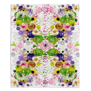 Artistic Sherpa Pile Blankets | Julie Ansbro - Romantic Blooms Green Yellow