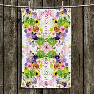 Unique Hanging Tea Towels | Julie Ansbro - Romantic Blooms Green Yellow | Flower Patterns