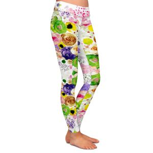 Casual Comfortable Leggings | Julie Ansbro - Romantic Blooms Green Yellow