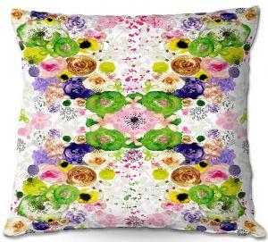 Decorative Outdoor Patio Pillow Cushion | Julie Ansbro - Romantic Blooms Green Yellow