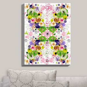 Decorative Canvas Wall Art | Julie Ansbro - Romantic Blooms Green Yellow | Flower Patterns