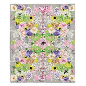 Artistic Sherpa Pile Blankets | Julie Ansbro - Romantic Blooms Griege