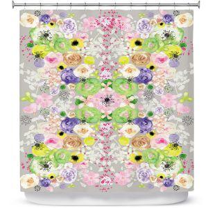 Premium Shower Curtains | Julie Ansbro - Romantic Blooms Griege