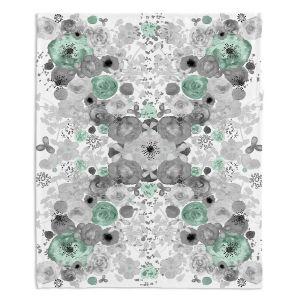 Decorative Fleece Throw Blankets | Julie Ansbro - Romantic Blooms Mint