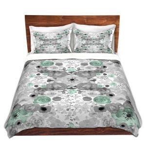 Artistic Duvet Covers and Shams Bedding | Julie Ansbro - Romantic Blooms Mint
