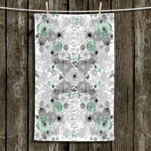 Unique Hanging Tea Towels | Julie Ansbro - Romantic Blooms Mint | Flower Patterns