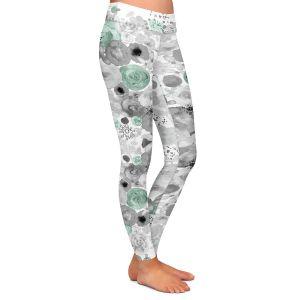 Casual Comfortable Leggings | Julie Ansbro - Romantic Blooms Mint