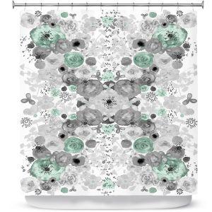 Premium Shower Curtains | Julie Ansbro - Romantic Blooms Mint