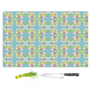 Artistic Kitchen Bar Cutting Boards | Julie Ansbro - Romantic Blooms Pattern Sky