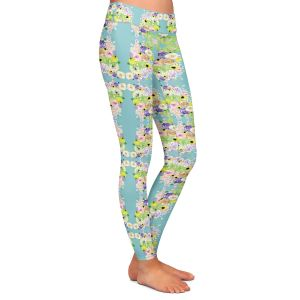 Casual Comfortable Leggings | Julie Ansbro - Romantic Blooms Pattern Sky