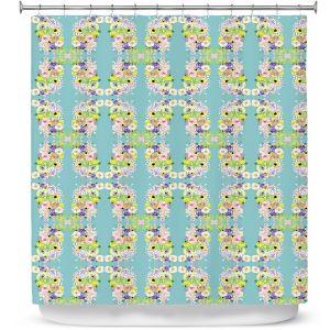Premium Shower Curtains | Julie Ansbro - Romantic Blooms Pattern Sky