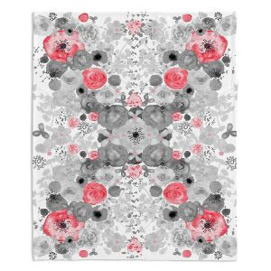 Decorative Fleece Throw Blankets | Julie Ansbro - Romantic Blooms Ruby