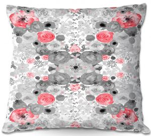 Decorative Outdoor Patio Pillow Cushion | Julie Ansbro - Romantic Blooms Ruby