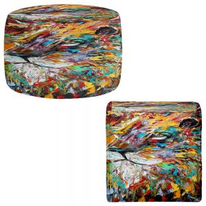 Round and Square Ottoman Foot Stools | Karen Tarlton - Abstract Lion